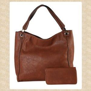 Handbags - Brown Slouchy Hobo & Wallet NWOT